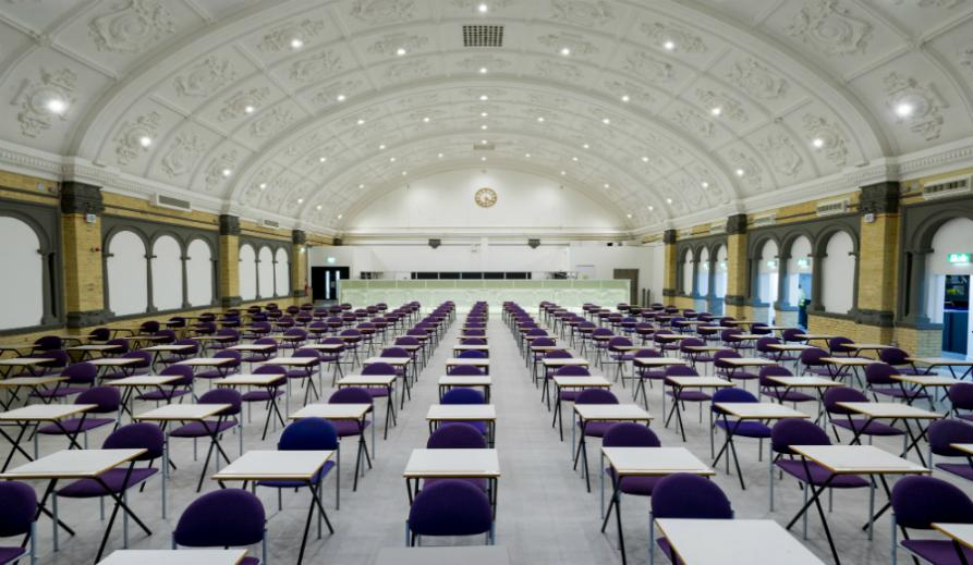 Photograph of the Great Hall in exam set up.