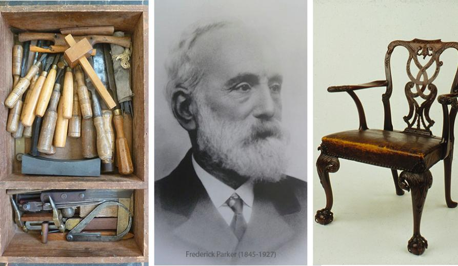 From left to right: a tool chest, a portrait of Frederick Parker and a chair from the Collection