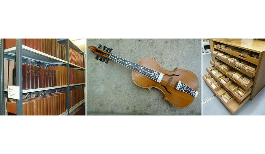 Three photos. From left to right: some periodicals, a handmade violin and a timber library.