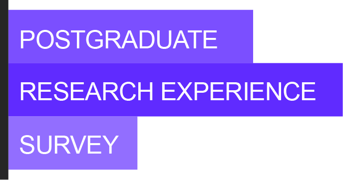 Postgraduate Research Experience Survey Logo - Purple and White Banner